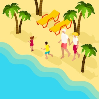 Emeryci ludzie family vacation isometric banner