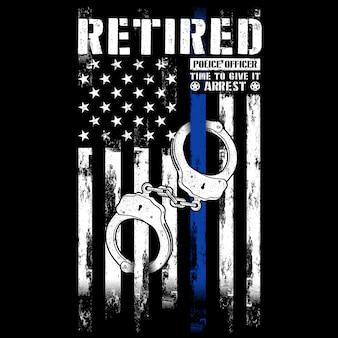 Emerytowany funkcjonariusz policji, mankiety, cienka niebieska linia