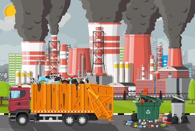 Emisja śmieci z fabryki