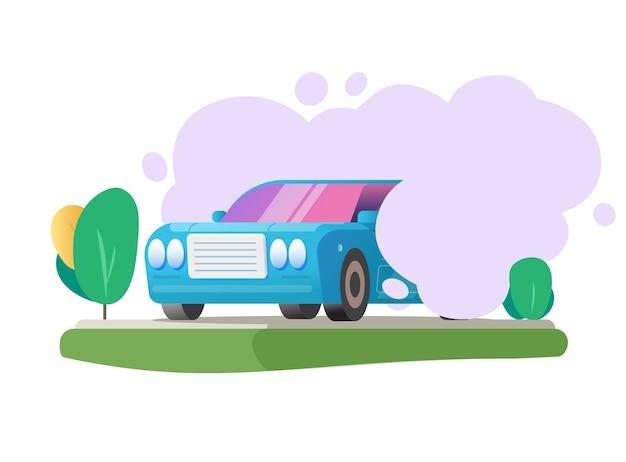 Emisja zanieczyszczeń co2 chmura węgla z pojazdu samochodowego na scenie przyrody