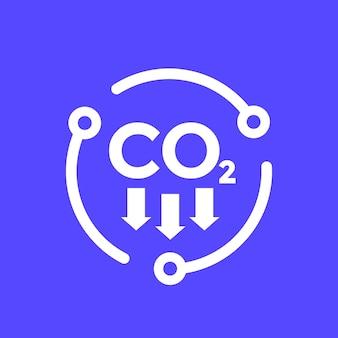 Emisje dwutlenku węgla, zmniejszenie ikony wektora co2