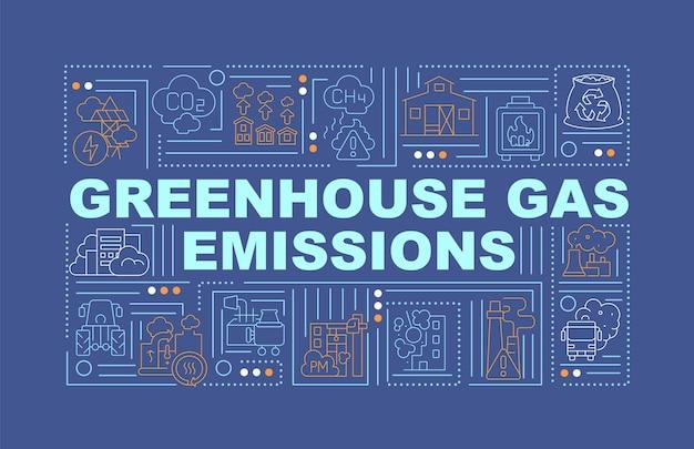 Emisje gazów cieplarnianych słowo banner koncepcji