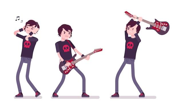 Emo chłopak gra na gitarze, słucha muzyki
