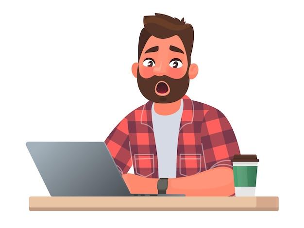 Emocja niespodzianka. mężczyzna pracuje za laptopem. przeglądanie internetu. szokujące treści lub przerażające wiadomości. ilustracja wektorowa w stylu płaskiej