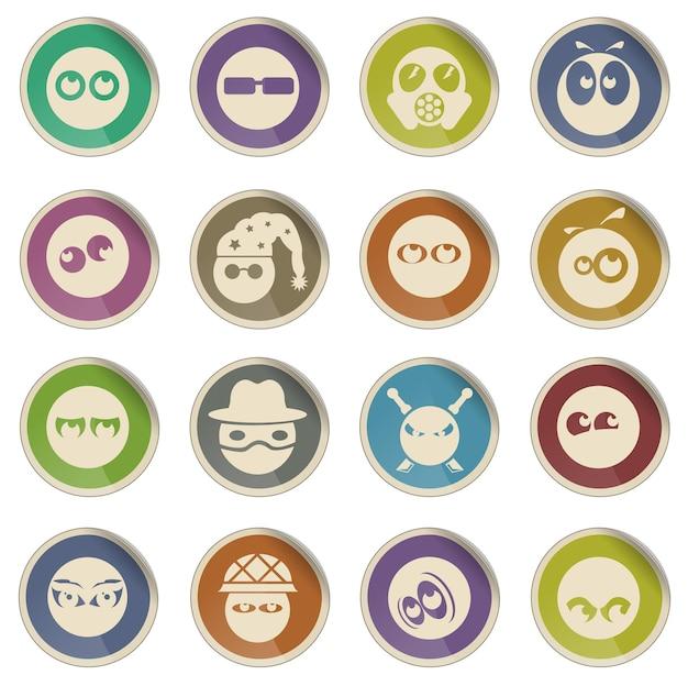 Emocje i spojrzenia wektorowe ikony