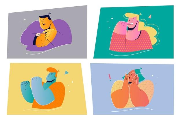 Emocje, koncepcja zestaw wyrazu twarzy. ilustracja pozytywnych i negatywnych ludzi emocjonalnych do druku