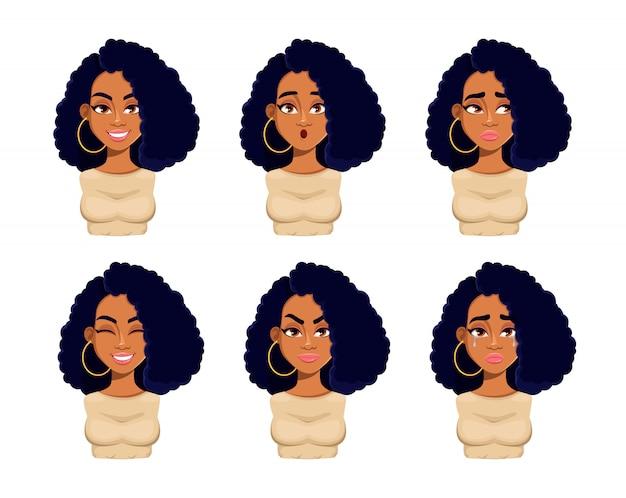 Emocje pięknej kobiety afroamerykanów