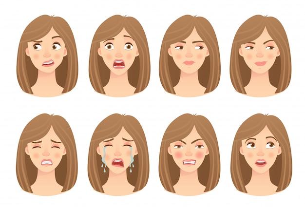 Emocje twarzy kobiety zestaw