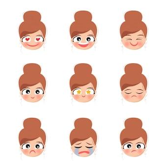 Emocje twarzy postaci słodkie