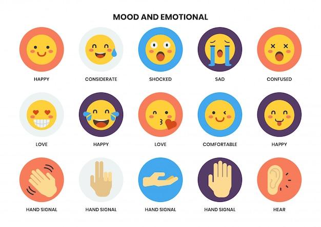 Emocjonalne ikony ustawiać dla biznesu
