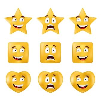 Emocjonalne kształty - kwadrat, gwiazda, koło, serce. podstawowe figury geometryczne z różnymi wyrazami twarzy. zestaw emotikonów na białym tle na białym tle