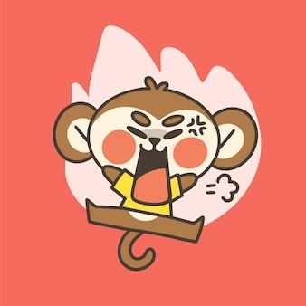 Emocjonalnie zdenerwowany mały chłopiec małpa maskotka doodle ilustracja