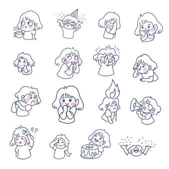 Emoji cute little girl