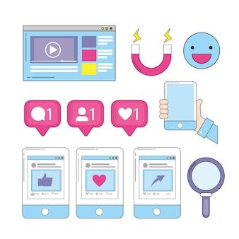 Emoji i media społecznościowe ze stroną internetową smartfona