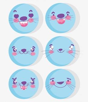 Emoji kawaii cartoon expression blue aminal faces set