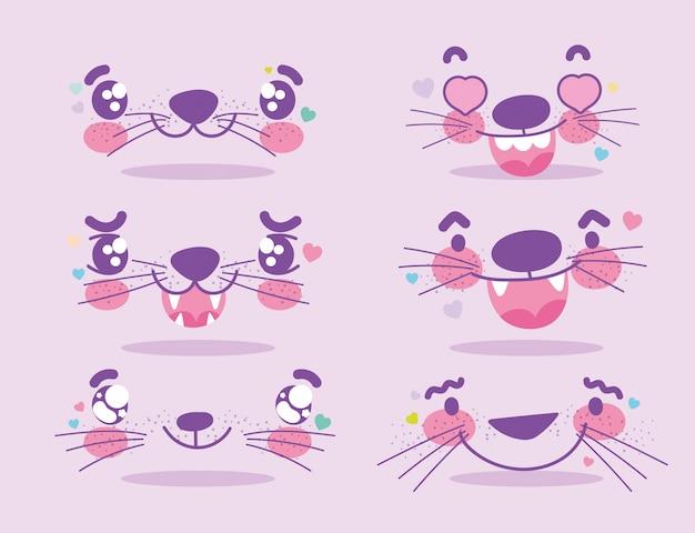 Emoji kawaii kreskówka zwierząt zestaw twarzy twarze