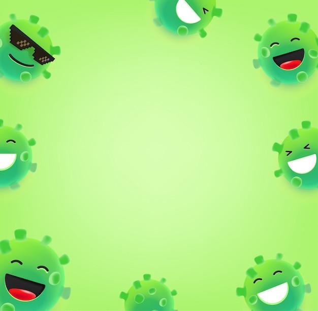 Emoji koronawirusa z różnymi emocjami