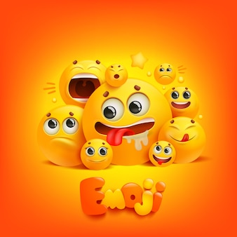 Emoji kreskówka grupa uśmiech postać na żółtym tle.