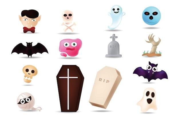 Emoji kreskówka na halloween ilustracji