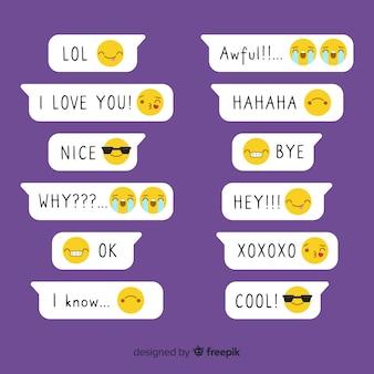 Emoji o płaskiej konstrukcji z komunikatami wyrażeń
