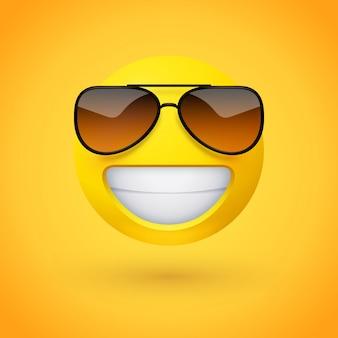 Emoji promiennej twarzy ze stylowymi okularami przeciwsłonecznymi