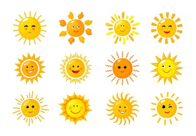 Emoji słońca. śmieszne lato wiosna promienie słońca słońce dziecko szczęśliwe rano emotikony. słoneczne uśmiechnięte twarze ikon słonecznych