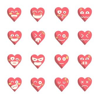 Emoji twarz wektor serca płaski kształt