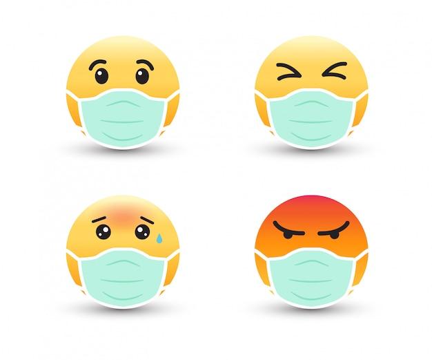 Emoji w ochronnej masce medycznej. maska do ochrony koronawirusa i zanieczyszczeń.