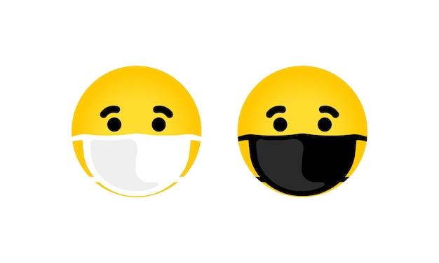 Emoji z ikona ilustracja maski usta. żółta twarz z zamkniętymi oczami w białej masce chirurgicznej. wektor eps 10. na białym tle.