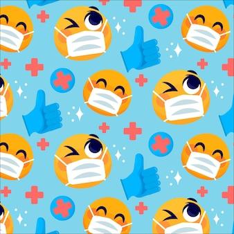 Emoji z kreskówek z wzorem maski na twarz
