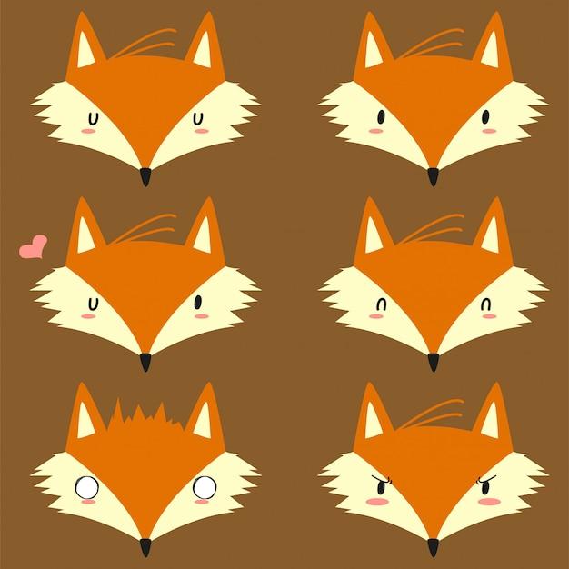 Emoji z lisem jesiennym. zestaw ładny lis z zabawnymi minami.