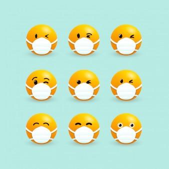 Emoji z maską na usta. zestaw żółtych twarzy z zamkniętymi oczami w białej masce chirurgicznej. koronawirus infekcja. wirus ncov 2019. mikrob koronawirusa. odosobniona graficzna ilustracja.