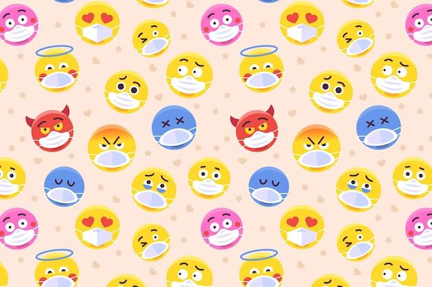 Emoji z wzorem maski na twarz