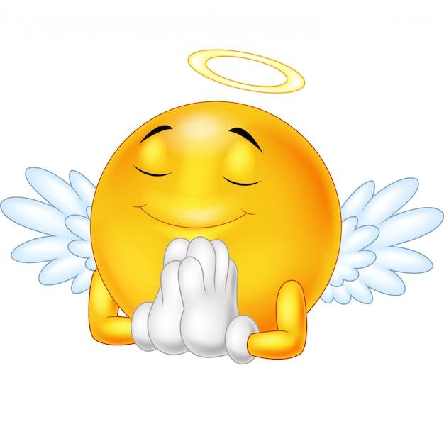 Emotikon anioł na białym tle