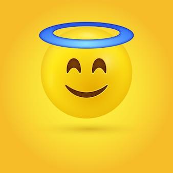 Emotikon anioła z uśmiechniętymi oczami i aureolą