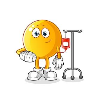 Emotikon chory w iv ilustracji