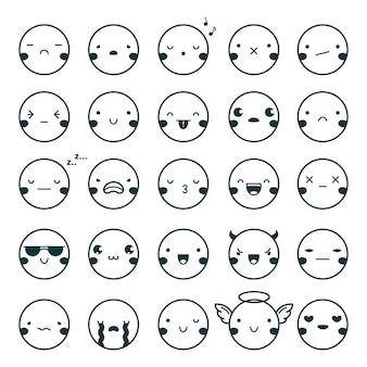 Emotikon emotikony czarny zestaw