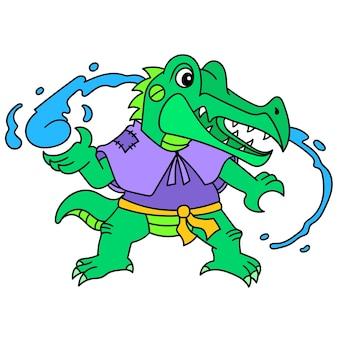 Emotikon krokodyla aligatora ma moc awatara kontrolującego wodę, rysowania doodle kawaii. sztuka ilustracji wektorowych