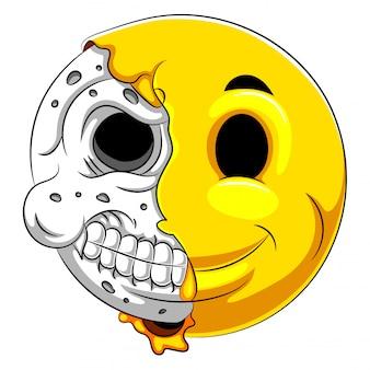 Emotikon pół czaszki z białym tłem