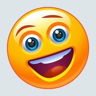 Emotikon śmieje się głośno. znak lol.