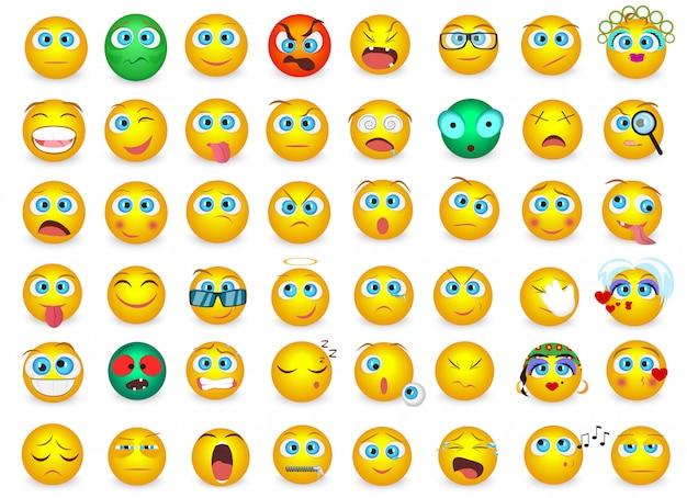 Emotikon twarz emocje ustawione