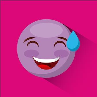 Emotikon uśmiechnięta twarz z zimną pot ikona twarz na różowym tle. kolorowy wzór. wektor ilust