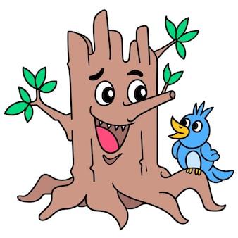 Emotikon uśmiechniętego pnia drzewa bawiącego się małym ptaszkiem, doodle rysuj kawaii. sztuka ilustracji wektorowych