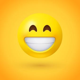 Emotikon z promienną twarzą z uśmiechniętymi oczami i szerokim, otwartym uśmiechem