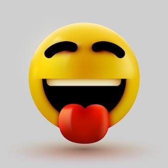 Emotikona 3d uśmiechnięta twarz z wystawionym językiem.