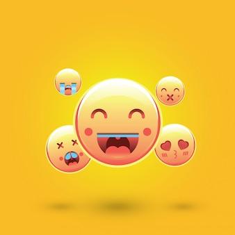 Emotikony buźki, emoji, koncepcja mediów społecznościowych