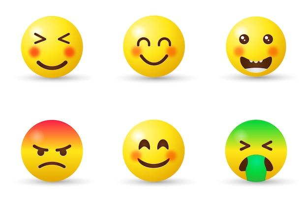 Emotikony emoji z różnymi reakcjami dla sieci społecznościowej