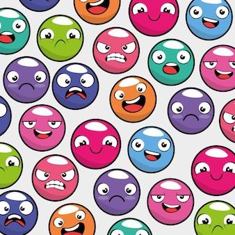 Emotikony emotikon bezszwowe tło wzór