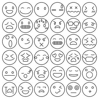 Emotikony emotikony zestaw kolekcja uczuć twarzy