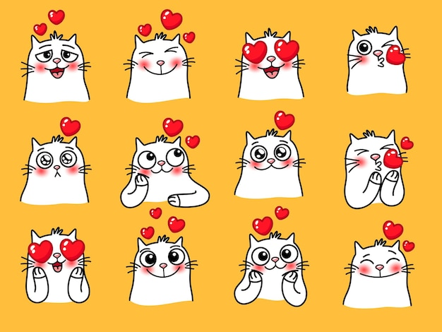Emotikony kota z sercem. kreskówka słodkie emocje domowych kochających zwierząt, ilustracji wektorowych emoji z zabawnymi zwierzętami na żółtym tle